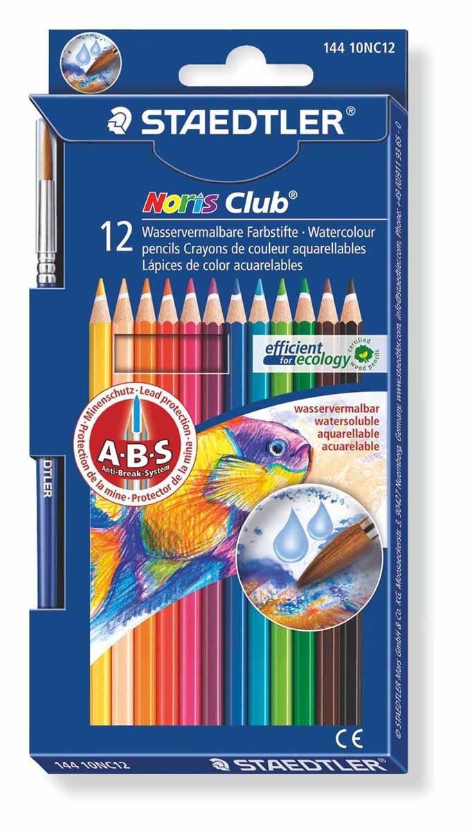 Staedtler Набор акварельных карандашей Noris Club с кисточкой 12 цветов14410NC12Акварельные карандаши Staedtler Noris Club предназначены для школы и творческих мастерских.Хорошо размываются водой.Цвета легко смешиваются между собой, можно получить практически любой оттенок, при желании добившись нежного эффекта акварели.Интересный эффект достигается, когда рисунок наносится на предварительно смоченный картон или бумагу.Карандаши шестигранной формы, корпус выполнен из натурального дерева. Грифель, даже при падении карандаша, не ломается, так как надежно защищен системой ABS (anti breakage system) - дополнительным белым слоем.В комплекте идет кисточка с защитным колпачком.Акварельные карандаши соответствуют всем европейским стандартам.