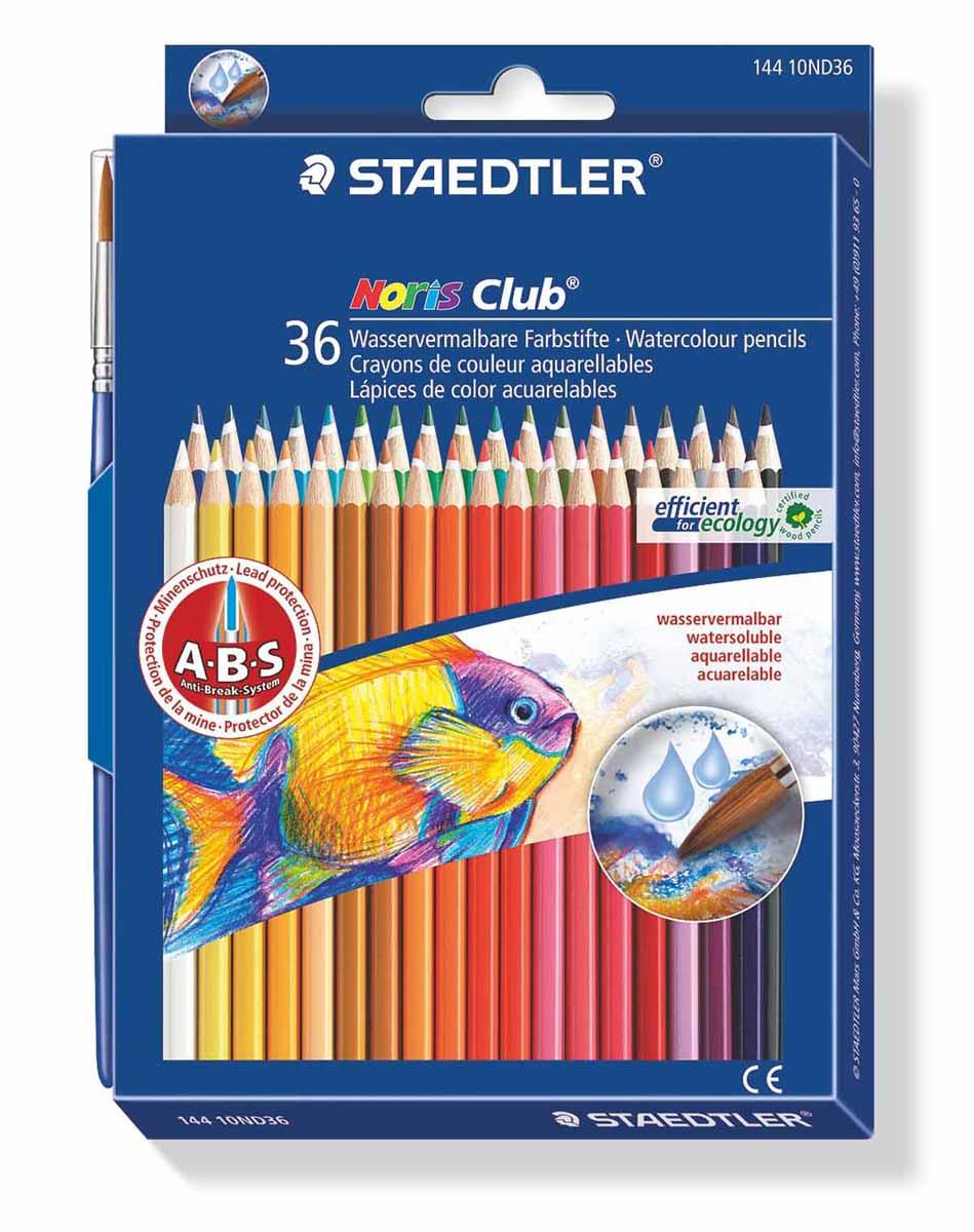 Staedtler Набор акварельных карандашей Noris Club с кисточкой 36 цветов72523WDАкварельные карандаши Staedtler Noris Club предназначены для школы и творческих мастерских.Хорошо размываются водой.Цвета легко смешиваются между собой, можно получить практически любой оттенок, при желании добившись нежного эффекта акварели.Интересный эффект достигается, когда рисунок наносится на предварительно смоченный картон или бумагу.Карандаши шестигранной формы, корпус выполнен из натурального дерева. Грифель, даже при падении карандаша, не ломается, так как надежно защищен системой ABS (anti breakage system) - дополнительным белым слоем.В комплекте идет кисточка с защитным колпачком.Акварельные карандаши соответствуют всем европейским стандартам.