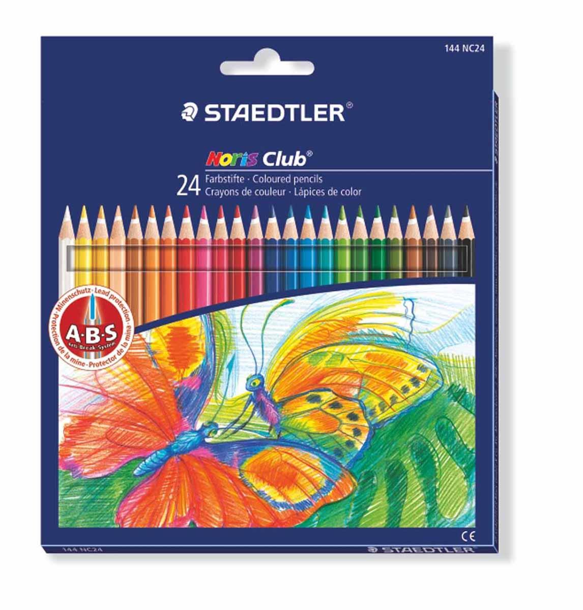 Staedtler Набор цветных карандашей Noris Club 24 цвета72523WDЦветные карандаши Staedtler Noris Club обладают классической шестиугольной формой. Разработанные специально для детей они имеют мягкий грифель и насыщенные цвета, а белое защитное покрытие грифеля (А·B·S) делает его более устойчивым к повреждению. С цветными карандашами Noris Club ваши дети будут создавать яркие и запоминающиеся рисунки.В наборе 24 карандаша.