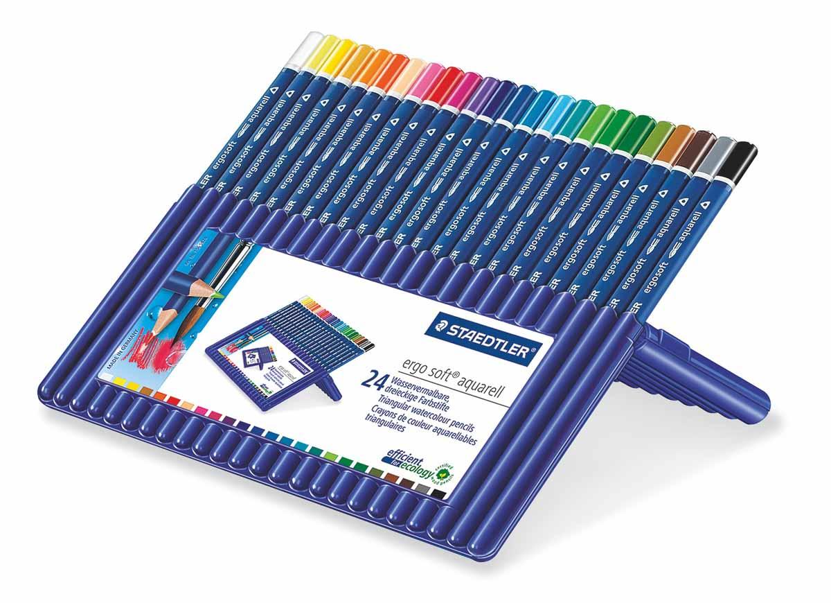Staedtler Набор акварельных карандашей Ergosoft 24 цвета72523WDНабор цветных карандашей Staedtler Ergosoft трехгранной формы для удобного и легкого письма с акварельным грифелем. В наборе: 24 цвета. Карандаши упакованы в пластиковый футляр, который легко превращается в удобную настольную подставку. Широкий выбор возможностей для рисования - также водой и кистью.С цветными карандашами Ergosoft ваши дети будут создавать яркие и запоминающиеся рисунки.