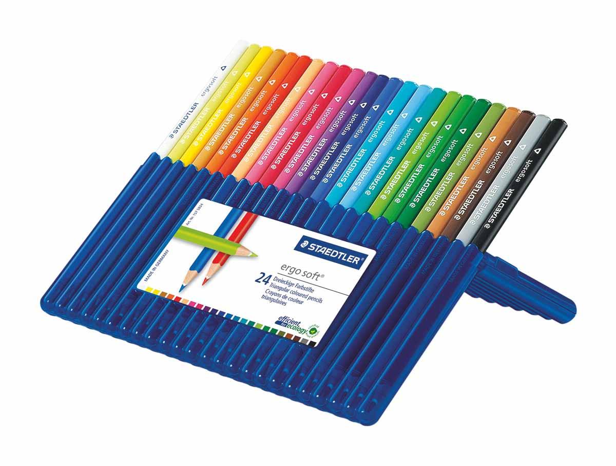 Staedtler Набор цветных карандашей Ergosoft 157 24 цвета0102016Набор цветных карандашей трехгранной формы для удобного и легкого письма, Staedtler. Содержит 24 цвета в ассортименте. Карандаши упакованы в пластиковый футляр, который легко превращается в удобную настольную подставку. Широкий выбор возможностей для рисования.
