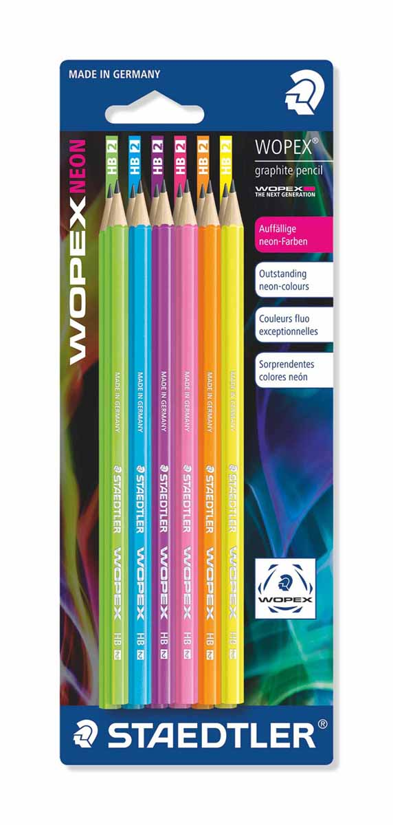 Staedtler Набор чернографитовых карандашей Wopex NEON HB 12 шт180FBK12Набор высококачественных чернографитовых карандашей Staedtler Wopex имеют шестигранную форму. В наборе: 12 цветов. Каждый корпус карандаша выполнен в неоновом цвете. Карандаш имеет среднюю твердость - НВ, что дает широкий выбор возможностей для рисования.С такими карандашами вы сможете создавать запоминающиеся рисунки.