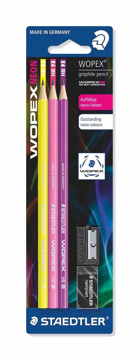 Staedtler Набор чернографитовых карандашей Wopex NEON HB 3 шт730396Набор высококачественных чернографитовых карандашей Staedtler Neon изготовленных из уникального материала Wopex, который на 70% состоит из древесины.Отличаются особой прочностью, устойчивы к поломкам и имеют ударопрочный грифель.Шестигранный корпус мягкий и бархатистый на ощупь, карандаш не скользит в руке.