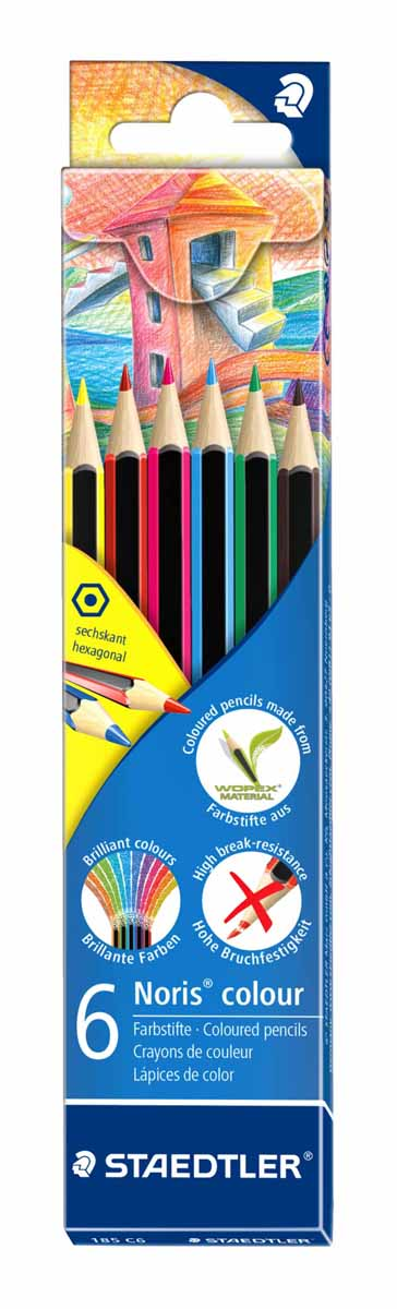 Staedtler Набор цветных карандашей Noris Colour Wopex 6 цветов185C6Новые цветные карандашиStaedtlerNoris Color изготовлены из нового природного волокнистого материала: 70% древесины + пластиковый композит.Высокое качество письма, рисования, эскизов.Нескользящая, бархатистая поверхность; особенно ударопрочный корпус и грифель; гладкое письмо.Инновационный, однородный материал Wopex обеспечивает исключительно гладкую и ровную заточку с любым качеством точилки.Текст и рисунки легко стереть.