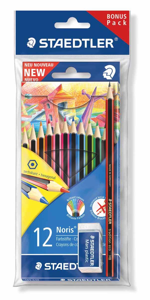Staedtler Набор цветных карандашей WOPEX 12 цветов с чернографитным карандашом 180T-HB и ластиком185SET2Цветные карандаши Staedtler Wopex классической шестигранной формы.A-B-S - белое защитное покрытие для укрепления грифеля и для защиты от поломки. Очень мягкий и яркий грифель.При производстве используется древесина сертифицированных и специально подготовленных лесов. Разработаны специально для детей, мягкий грифель и насыщенные цвета.В наборе 12 цветных карандашей, 1 чернографитный карандаш 180Т-НВ и ластик.