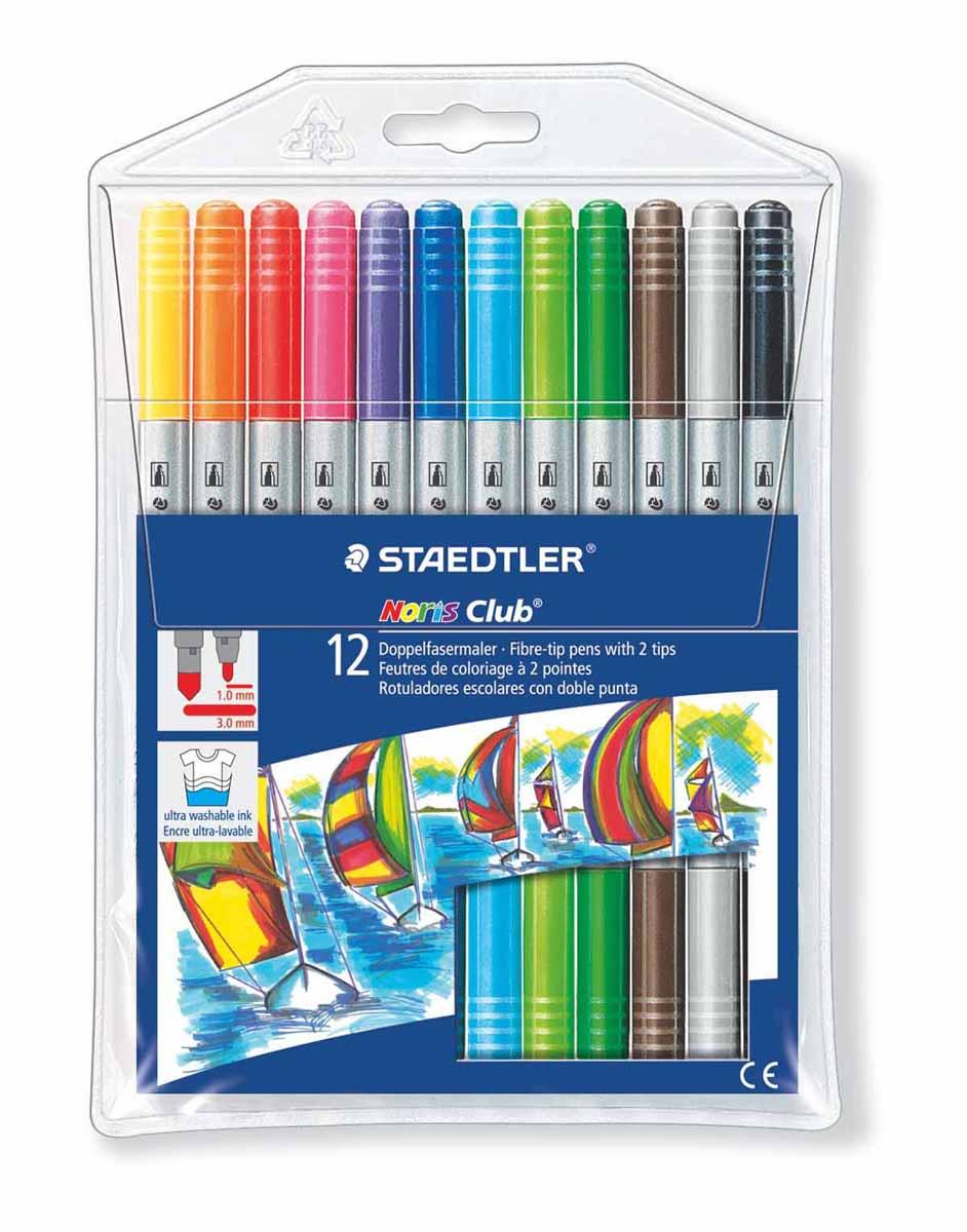 Набор фломастеров двусторонних NorisClub, Staedtler. Содержит 12 цветов в ассортименте. Толщина линии тонкого пишущего узла прибл.1,0 мм, толщина линии широкого пишущего узла прибл. 3,0 мм. Широкий выбор возможностей для рисования.