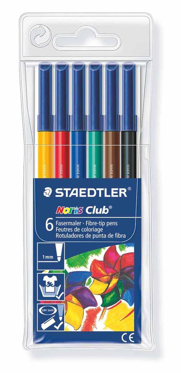 Staedtler Набор фломастеров Noris Club 6 цветовFS-36052Набор Staedtler Noris Club предназначен для маленьких и любознательных малышей. Он включает в себя 6 уникальных разноцветных фломастеров.Грифель каждого изделия снабжен устойчивым к сильному нажатию пишущим узлом.Рисование развивает усидчивость, фантазию, образное восприятие и логическое мышление.Кроме того, у ребенка тренируется зрительная координация и мелкая моторика рук.Толщина линии 1 мм.