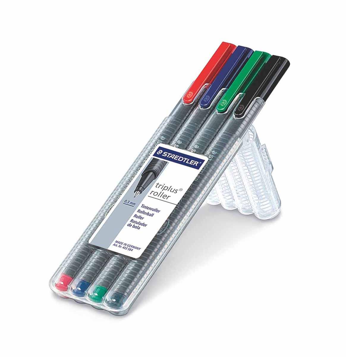 Staedtler Набор ручек-роллеров Triplus 4 цвета72523WDНабор ручек роллеров Staedtler Triplus подходит как для письма, так и для выполнения части графических работ.Особая конструкция пишущего узла обеспечивает сверхмягкое письмо. Ручки защищены от высыхания, могут находитьсСодержит 4 цвета в ассортименте. Толщина лбез колпачка несколько дней. Толщина линии 0,4мм.