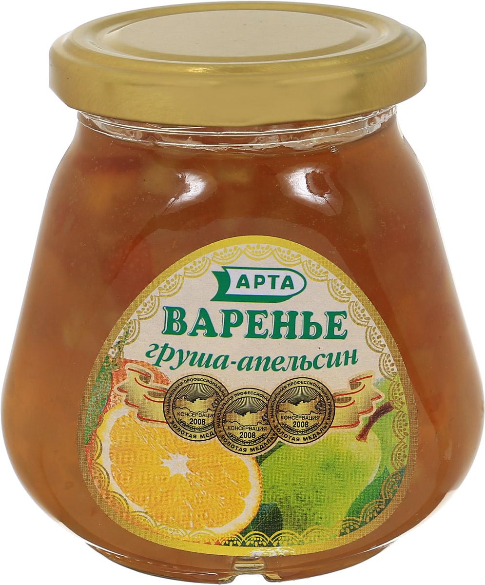 Арта варенье из груши и апельсина, 340 г0120710Варенье - это самый распространенный вид заготовки ягод, фруктов и овощей, который получают путем уваривания в сахарном сиропе. Хорошее варенье - это не разваренные плоды, а сироп легко отделяется.Груша очень полезна для сердца и при нарушениях сердечного ритма. Неоценима польза этого плода и для системы пищеварения. Спелые сочные и сладкие груши способствуют перевариванию пищи, обладают закрепляющими свойствами и поэтому полезны при расстройствах кишечника. Главное достоинство апельсина, как и всех цитрусовых - это витамин С. Апельсины полезны для организма в целом и для пищеварительной, эндокринной, сердечно-сосудистой и нервной систем. Апельсин благотворно влияет на заживление ран и нарывов. Действует успокаивающе, укрепляет нервы, благотворно влияет на деятельность центральной нервной системы.Уважаемые клиенты! Обращаем ваше внимание, что полный перечень состава продукта представлен на дополнительном изображении.