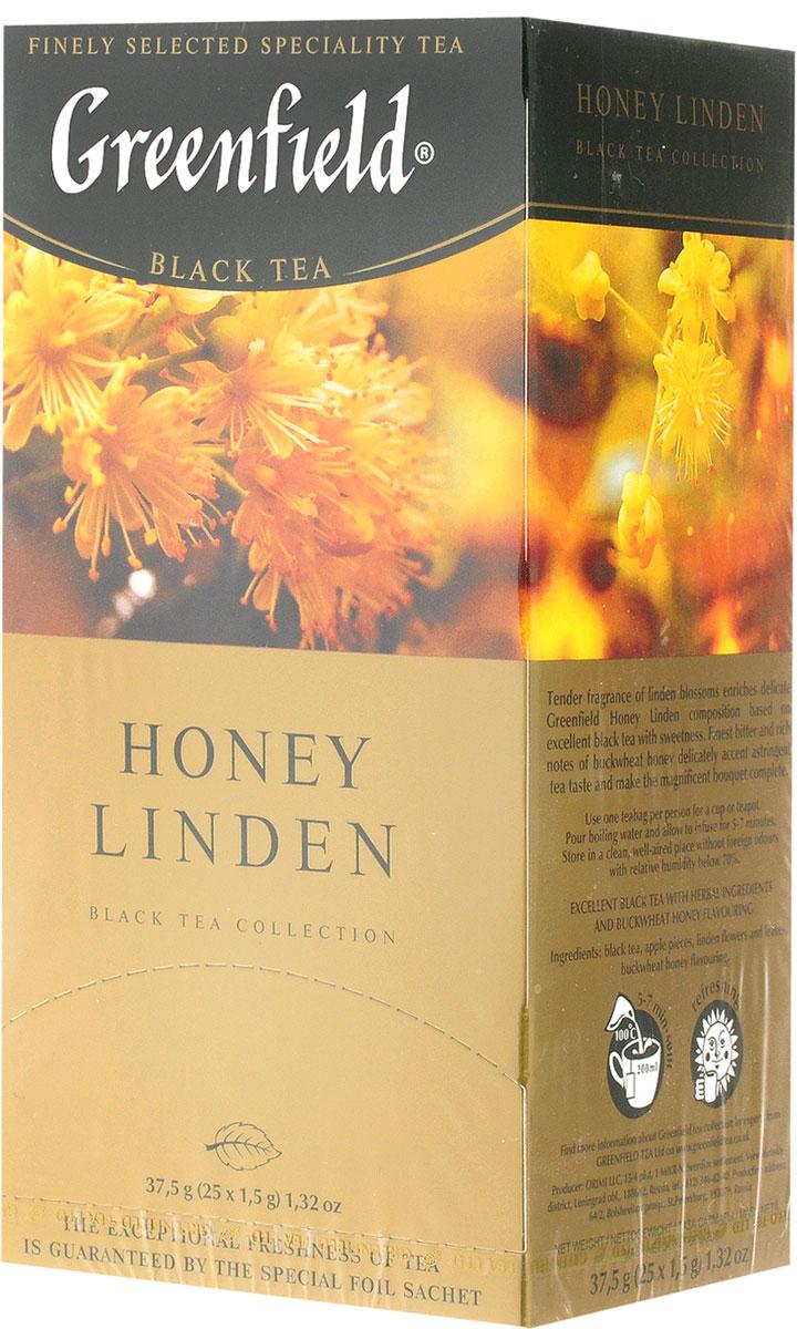Greenfield Honey Linden черный чай с липой и медом в пакетиках, 25 шт101246Greenfield Honey Linden - превосходный купаж черного чая и липы с добавлением тонкой сладости гречишного меда. Нежное благоухание цветов липы наполняет душистой сладостью изысканную композицию, созданную на основе превосходного черного чая. Тончайшая горьковато-пряная нота гречишного меда деликатно подчеркивает терпкие оттенки чайного вкуса, придавая завершенность великолепному букету.