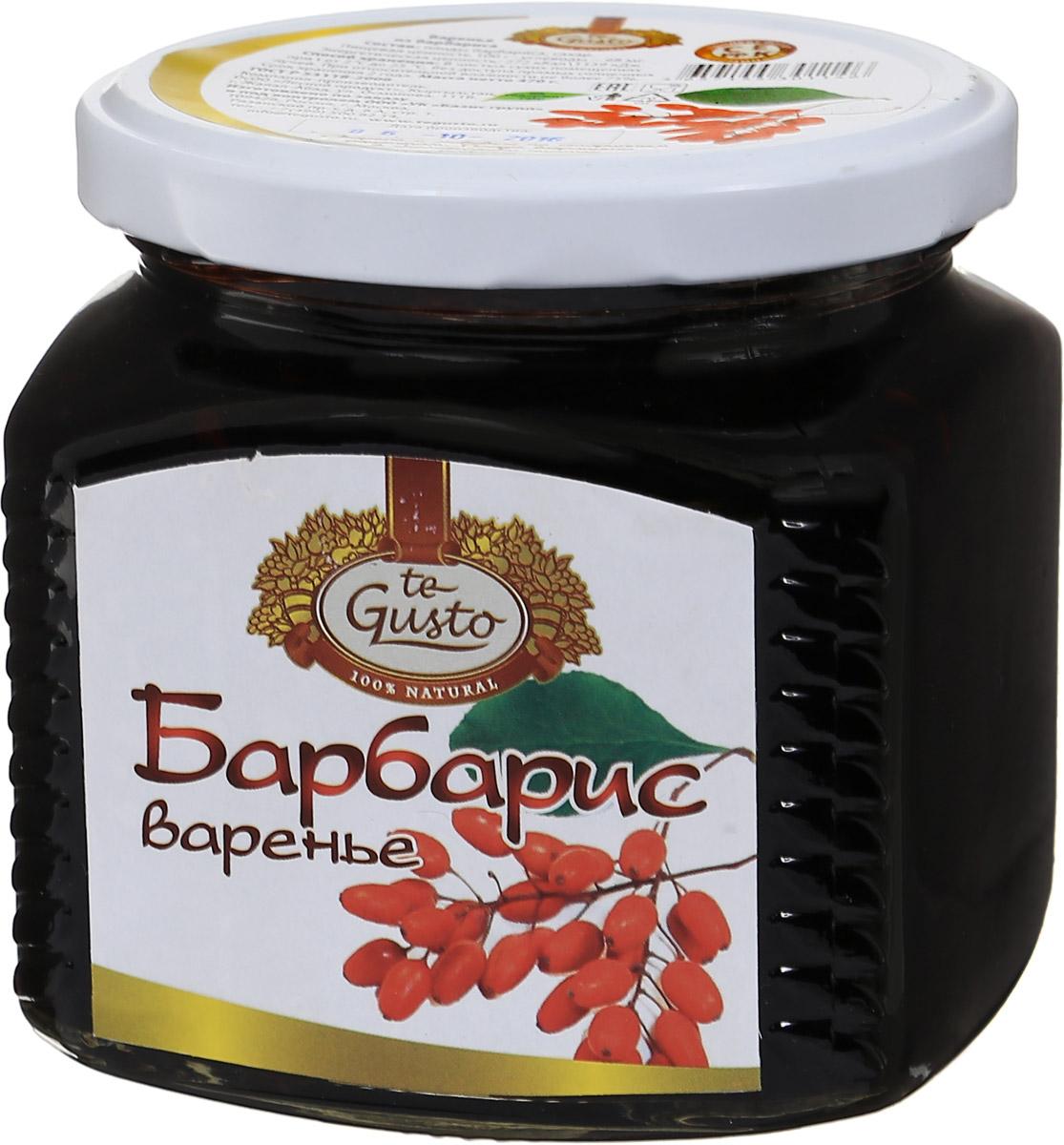 te Gusto Варенье из барбариса, 470 г4665301640100Барбарис - уникальное растение, которое славится не только своим ароматом, но и полезными свойствами.Ягоды барбариса - это кладезь витамина С, аскорбиновой, яблочной и лимонной кислоты. Поэтому употребление продуктов на основе барбариса поможет при снятии жара и для остановки кровотечения.Если у вас наблюдается заболевание печени, мочевого пузыря, почек, то ни в коем случае не пренебрегайте столь важной для вас ягодой.