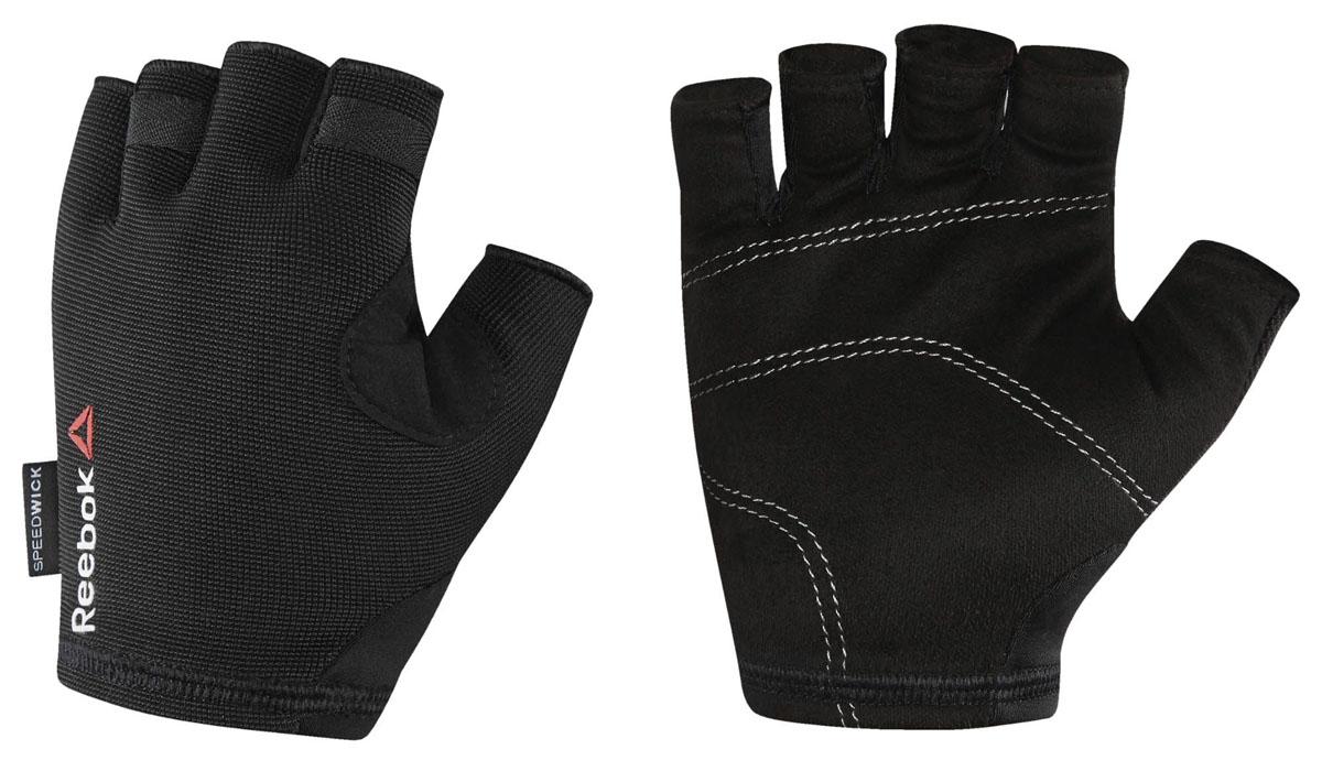 Перчатки для фитнеса Reebok Os U Training Glove, цвет: черный. BK6288. Размер S (18)BJ9157Защити свои руки во время самой интенсивной тренировки. Подкладка с внутренней стороны ладони защитит от натирания и обеспечит уверенный хват. А благодаря системе быстрой вентиляции ты будешь ощущать сухость, независимо от нагрузки. Перчатки очень легко снимаются – на кончиках пальцах есть специальные петельки.Материал: 88% нейлон и 12% эластан, сетчатый материал для вентиляции и комфорта.Специальные ярлычки для удобного снимания.Силиконовые вставки на ладонях для амортизации и защиты.Сетчатые вставки для вентиляции и отвода влаги.Вставка из микрофибровой замши для комфорта и удаления влаги.