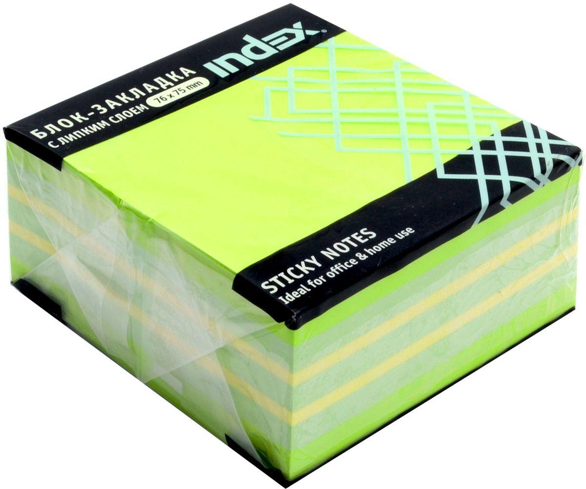 Index Бумага для заметок с липким слоем цвет зеленый 400 листов72523WDБумага для заметок с липким слоем, размер 76 х 75 мм, 400 листов. Клеевой слой - 21 Н/м, плотность бумаги - 75г/кв.м. Не оставляет следов после использования, лист может крепиться повторно.
