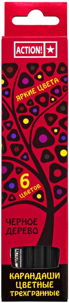 Action! Набор цветных карандашей Черное дерево 6 цветов72523WDЦветные карандаши Action! откроют юным художникам новые горизонты для творчества, а также помогут отлично развить мелкую моторику рук, цветовое восприятие, фантазию и воображение. Трехгранный корпус изготовлен из черного дерева.Набор включает 6 карандашей насыщенных цветов.