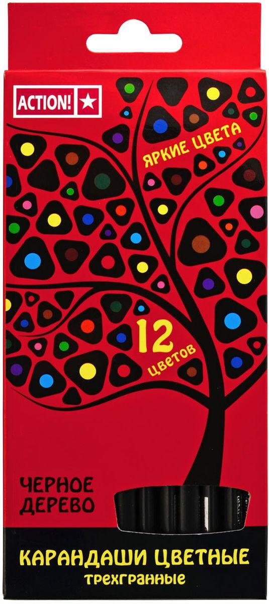 Action! Набор цветных карандашей Черное дерево 12 цветов72523WDТрехгранный корпус. Выполнены из черного дерева. 12 цветов. В картонной коробке с европодвесом.