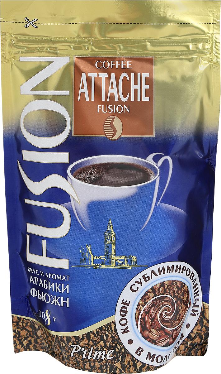 Attache Fusion Prime кофе растворимый, 108 г0120710Растворимый кофе Attache Fusion Prime - это уникальное слияние двух видов кофе - растворимого кофе и молотого. Уникальная технология напыления свежей натуральной Арабики тонкого помола на кристаллы растворимого кофе. В одном продукте скорость и удобство заваривания растворимого и живой аромат натурального кофе.