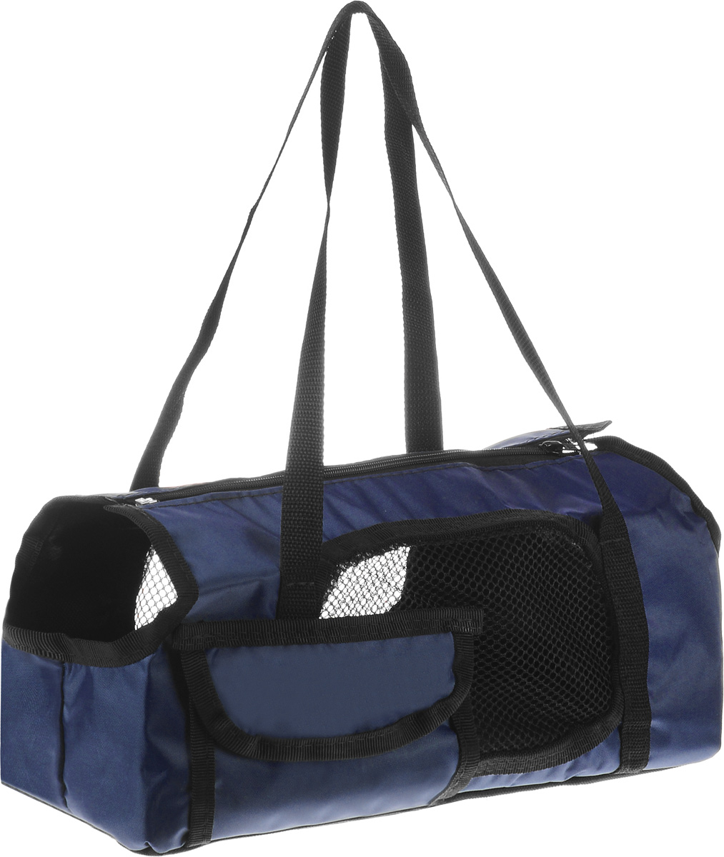 Сумка-переноска для животных Elite Valley Батискаф, с отверстием для головы, цвет: темно-синий, черный, 37 х 14 х 16 см0120710Текстильная сумка Elite Valley Батискаф предназначена для собак мелких пород и кошек. Изделие закрывается на застежку-молнию. Для удобной переноски предусмотрены ручки. С внешней стороны имеется один небольшой карман. Также сумка оснащена отверстиями для головы и хвоста животного. По бокам расположены вставки из сетчатой ткани. Дно уплотнено твердой съемной вставкой.Сумка-переноска Elite Valley Батискаф обязательно понравится вашему домашнему любимцу.