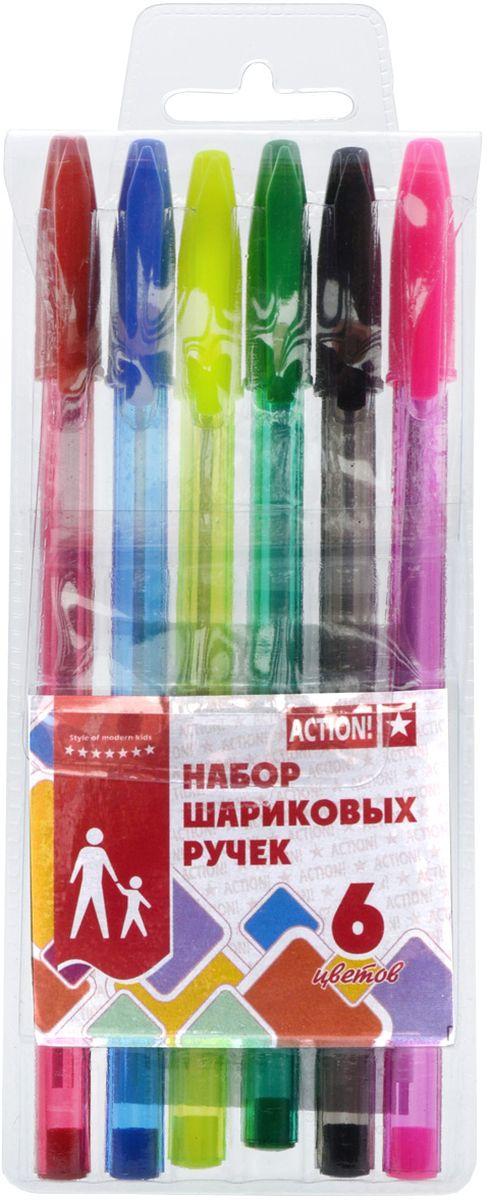 Action! Набор шариковых ручек 6 цветов ABP060172523WDПластиковый цветной полупрозрачный корпус в цвет чернил. Диаметр шарика – 0,5 мм. 6 цветов. В ПВХ-пенале с европодвесом.
