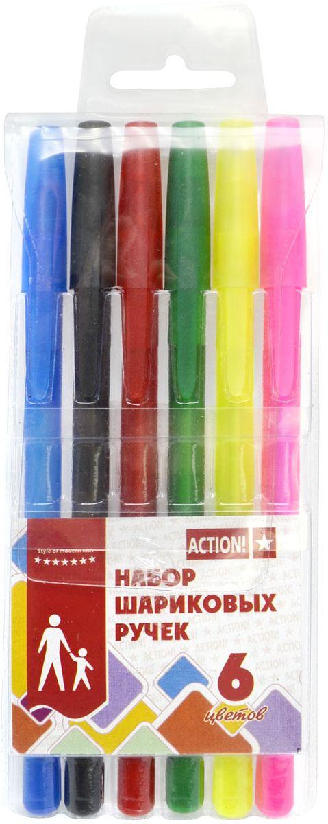 Action! Набор шариковых ручек 6 цветов ABP06040703415Пластиковый цветной матовый корпус в цвет чернил, резиновый упор под пальцы. Диаметр шарика – 0,5 мм. 6 цветов. В ПВХ-пенале с европодвесом.