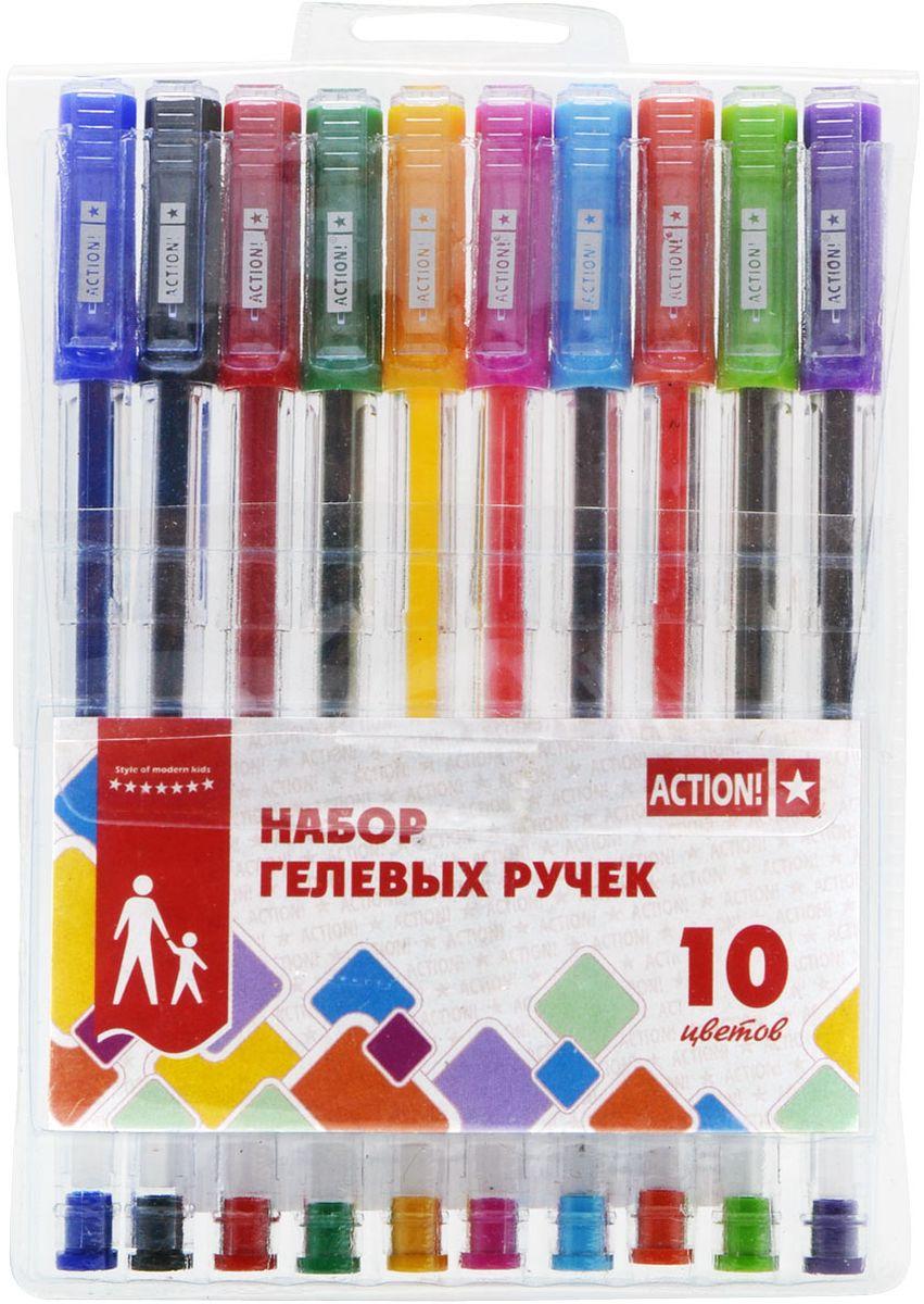 Action! Набор гелевых ручек 10 цветов AGP1001AGP1001Пластиковый прозрачный корпус в цвет чернил. Диаметр шарика – 0,5 мм. 10 цветов. В ПВХ-пенале с европодвесом.