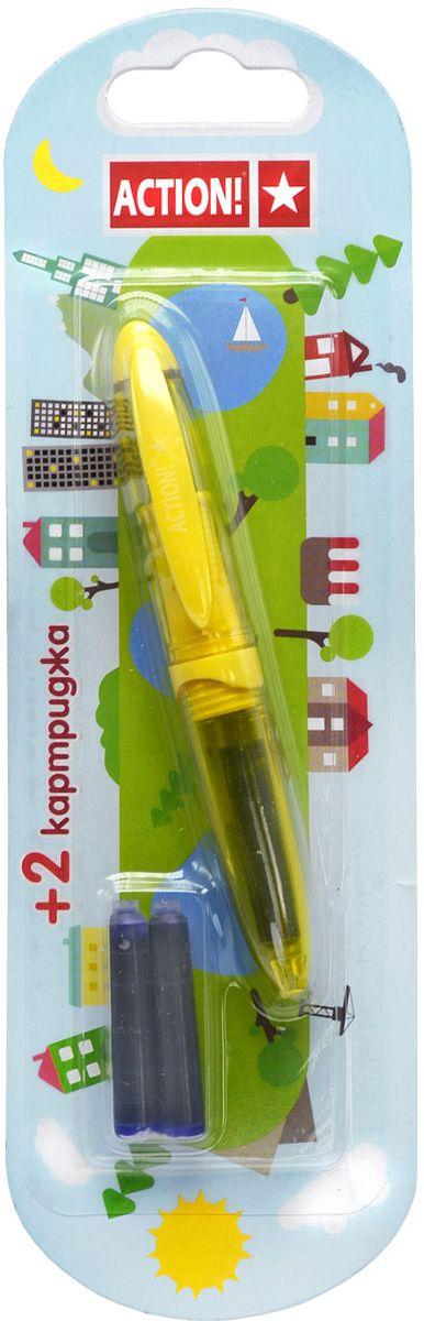 Action! Ручка перьевая с двумя картриджами цвет корпуса желтый AFP1037GP905BK_6597Перьевая ручка Action!, несомненно, заинтересует ребенка, мечтающего о взрослых предметах письма, а также поможет выработать навыки каллиграфии и исправить хромающий почерк. Перьевая ручка Action! с запасными картриджами отличается от взрослых ручек широким пластиковым корпусом, эргономичной зоной гриппа. В комплекте три чернильных картриджа - один в ручке и два запасных в блистерном отсеке.