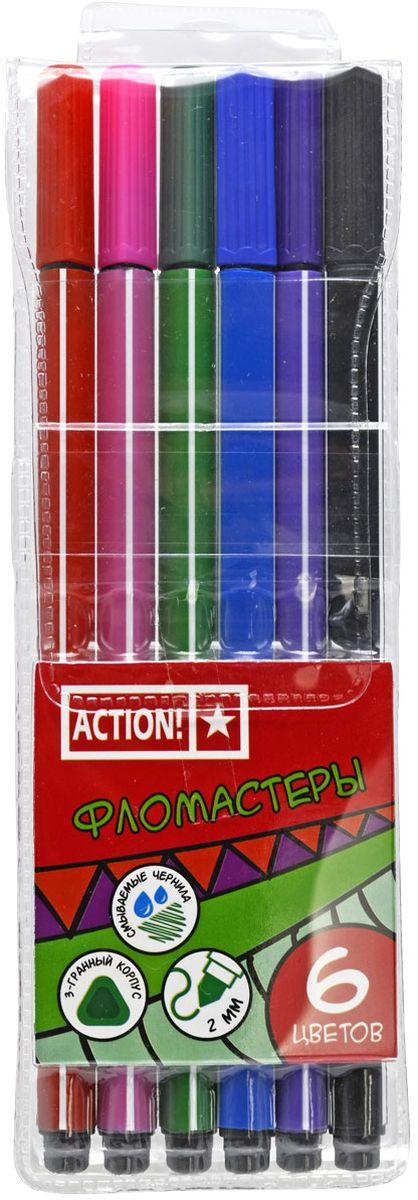 Action! Набор фломастеров 6 цветов72523WDПолипропиленовый трехгранный корпус. Вентилируемый колпачок. Прекрасно смываются водой. 6 цветов. В пластиковом пенале с европодвесом.