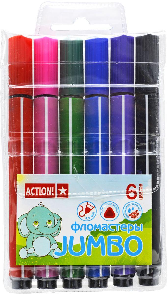 Action! Набор фломастеров утолщенный 6 цветов2010440Полипропиленовый утолщенный трехгранный корпус. Вентилируемый колпачок. Прекрасно смываются водой. 6 цветов. В пластиковом пенале с европодвесом.