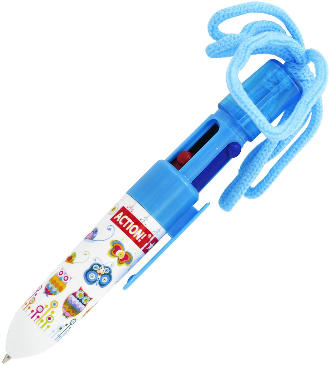 Action! Ручка шариковая на шнурке 4 цвета72523WDПластиковый корпус. 4 цвета в одной ручке: черный, синий, зеленый, красный. На шнурке. Диаметр шарика - 0,7 мм. В пакете с европодвесом.