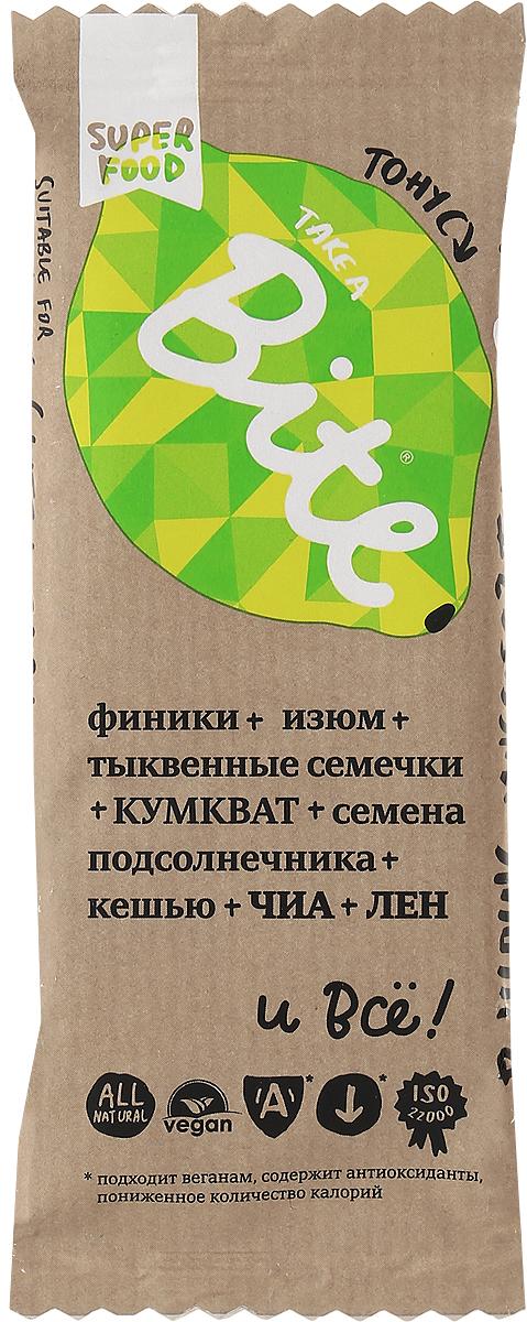 Take A Bite Кумкват-Лимон Тонус батончик фруктово-ореховый, 45 г4650062590092Выжимать цитрусовые 10 раз в день - утомительное занятие, которое все же поможет вам взбодриться. Но как насчет батончика Take A Bite Тонус из дразнящего кумквата и кешью? Зарядитесь энергией на целый день!Уважаемые клиенты! Обращаем ваше внимание, что полный перечень состава продукта представлен на дополнительном изображении.