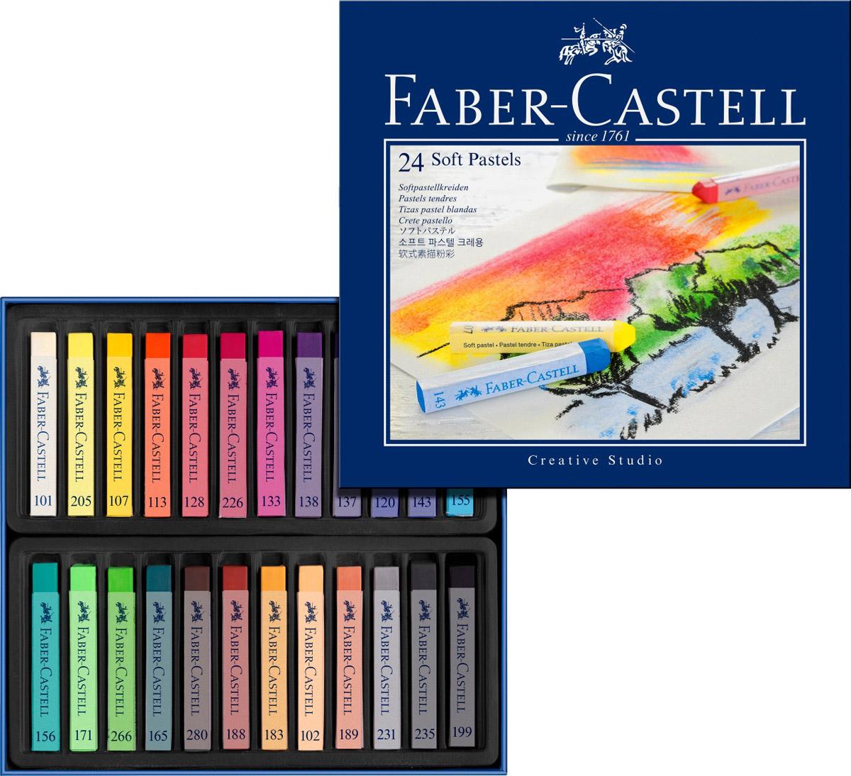 Мягкие мелки Faber-Castell Studio Quality Soft Pastels, 24 штFS-36052Набор Faber-Castell Studio Quality Soft Pastels содержит мягкие мелки квадратной формы 24 ярких насыщенных цветов. Каждый мелок обернут в бумажную гильзу. Мелки великолепного качества не крошатся при работе, обладают отличными кроющими свойствами, обеспечивают хорошее сцепление с поверхностью, яркость и долговечность изображения. Мягкими мелками Faber-Castell Studio Quality Soft Pastels можно рисовать в любой технике, сочетая их с цветными карандашами и красками.