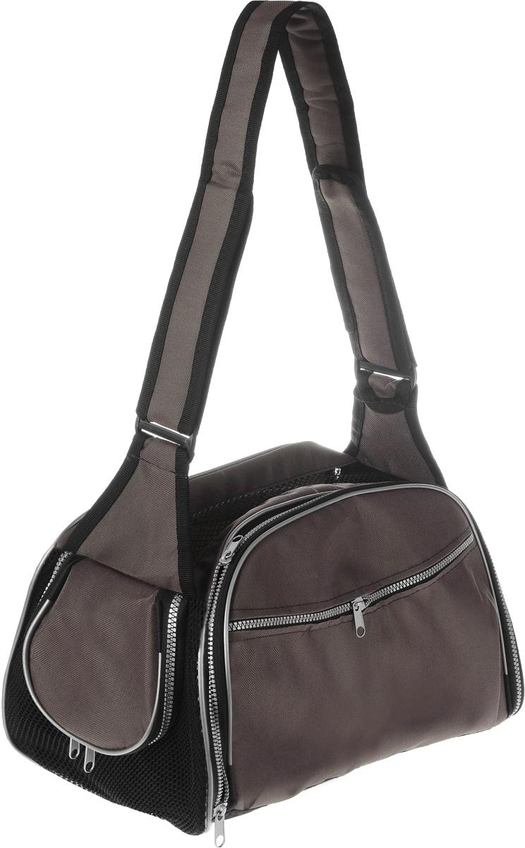 Сумка-переноска для животных Elite Valley, с отверстием для головы, цвет: светло-коричневый, черный, 40 х 24 х 25 смDM-160272Текстильная сумка Elite Valley предназначена для собак мелких пород и кошек. Изделие закрывается на застежку-молнию. Для удобной переноски предусмотрена удобная ручка. С внешней стороны имеется два кармана на молнии. Также сумка оснащена отверстием для головы животного, закрывающимся на молнию.Сумка-переноска Elite Valley обязательно понравится вашему домашнему любимцу.