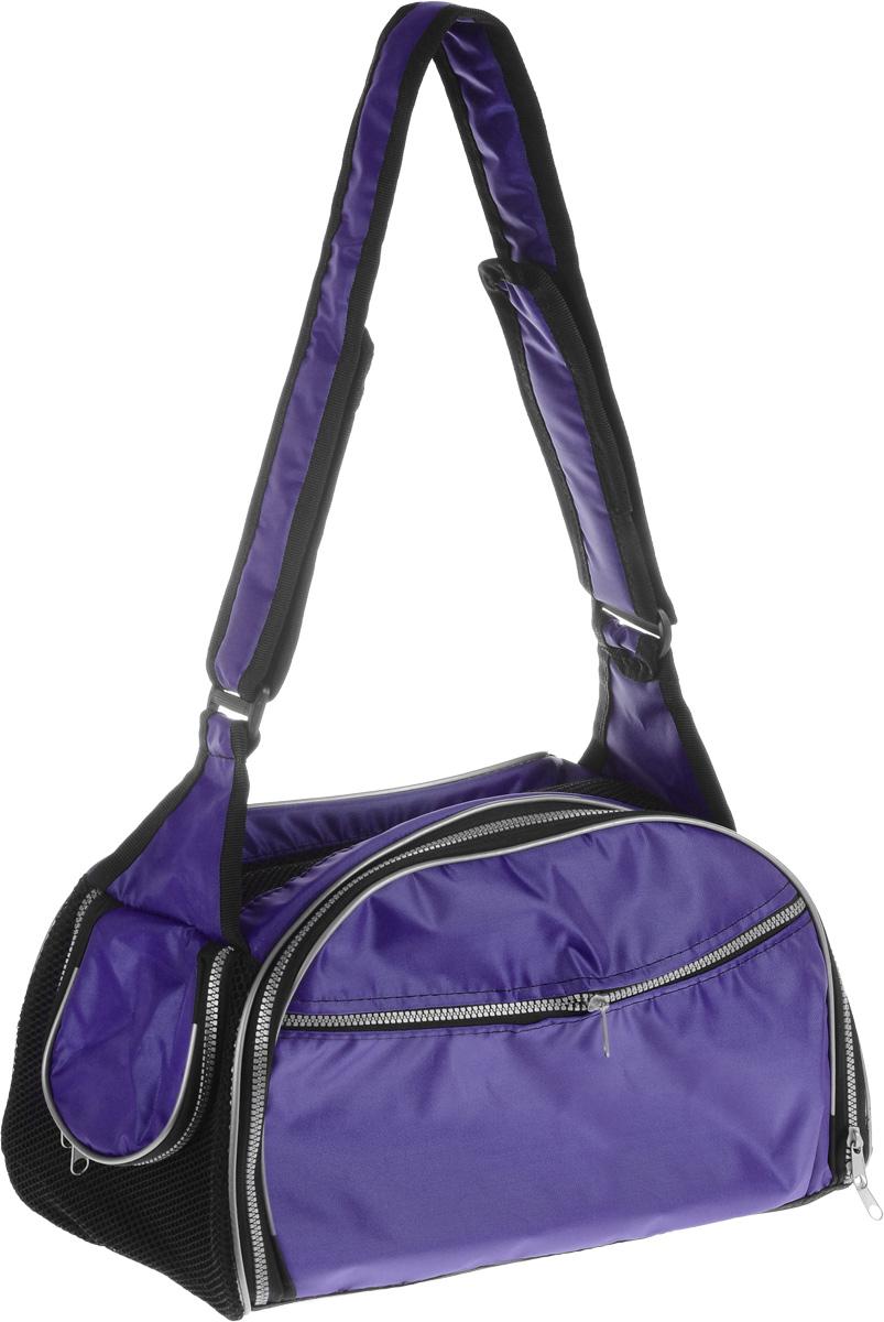 Сумка-переноска для животных Elite Valley, с отверстием для головы, цвет: темно-фиолетовый, черный, 40 х 24 х 25 см0120710Текстильная сумка Elite Valley предназначена для собак мелких пород и кошек. Изделие закрывается на застежку-молнию. Для удобной переноски предусмотрена удобная ручка. С внешней стороны имеется два кармана на молнии. Также сумка оснащена отверстием для головы животного, закрывающимся на молнию.Сумка-переноска Elite Valley обязательно понравится вашему домашнему любимцу.