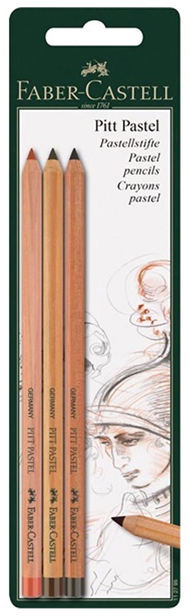 Faber-Castell Набор пастельных карандашей Pitt Pastel 3 шт112797Набор пастельных карандашей Faber-Castell Pitt Pastel для портретов, скетчей, натюрмортов, пейзажных рисунков или для учебы.Карандаши равномерно ложатся на бумагу, оставляя след как от обычной пастели, но при этом расходуются экономично. Цвета обладают насыщенным пигментом и не изменяются при фиксации или под действием света. Карандаши не содержат масла. Благодаря деревянному корпусу ваши руки остаются чистыми. Они легко растираются и хорошо подходят для ретуши, но это также означает, что для сохранения работы потребуется их фиксация специальными средствами.В наборе три карандаша.