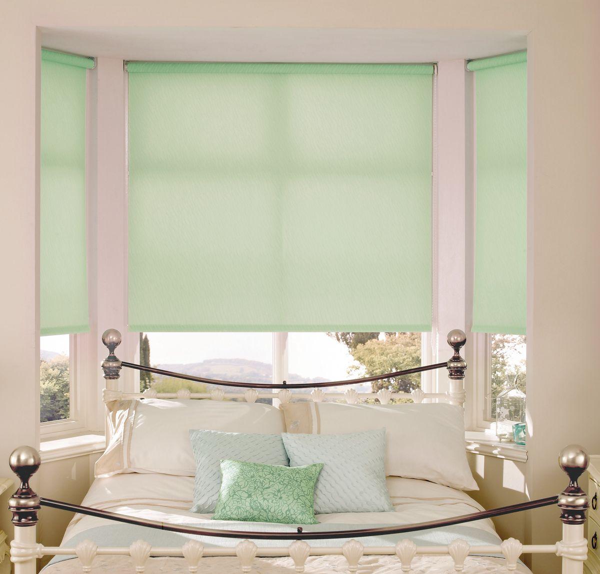 Штора рулонная Эскар Миниролло, цвет: светло-зеленый, ширина 90 см, высота 170 см