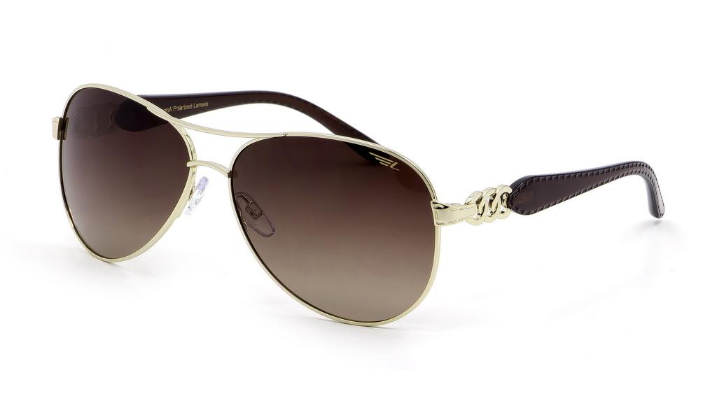 Очки поляризационные женские Legna, цвет: золотой, коричневый. S4406BINT-06501Солнцезащитные очки LEGNA с поляризационными линзами превосходно предохраняют глаза от любого рода вредных бликов и УФ-лучей, что делает вождение безопасным и комфортным. Также очки LEGNA ничем не уступают самым известным маркам и брендам в эстетической части. Благодаря линзам премиум класса очки LEGNA прекрасно подходят для повседневной носки, занятий спортом, отдыха и конечно для использования за рулем.