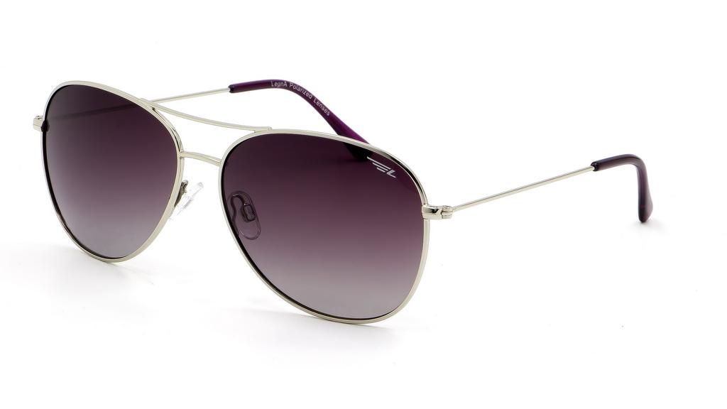 Очки поляризационные женские Legna, цвет: серый, сиреневый. S4601BBM8434-58AEСолнцезащитные очки Legna с поляризационными линзами превосходно предохраняют глаза от любого рода вредных бликов и УФ-лучей, что делает вождение безопасным и комфортным. Также очки Legna ничем не уступают самым известным маркам и брендам в эстетической части. Благодаря линзам премиум класса очки Legna прекрасно подходят для повседневной носки, занятий спортом, отдыха и конечно для использования за рулем.