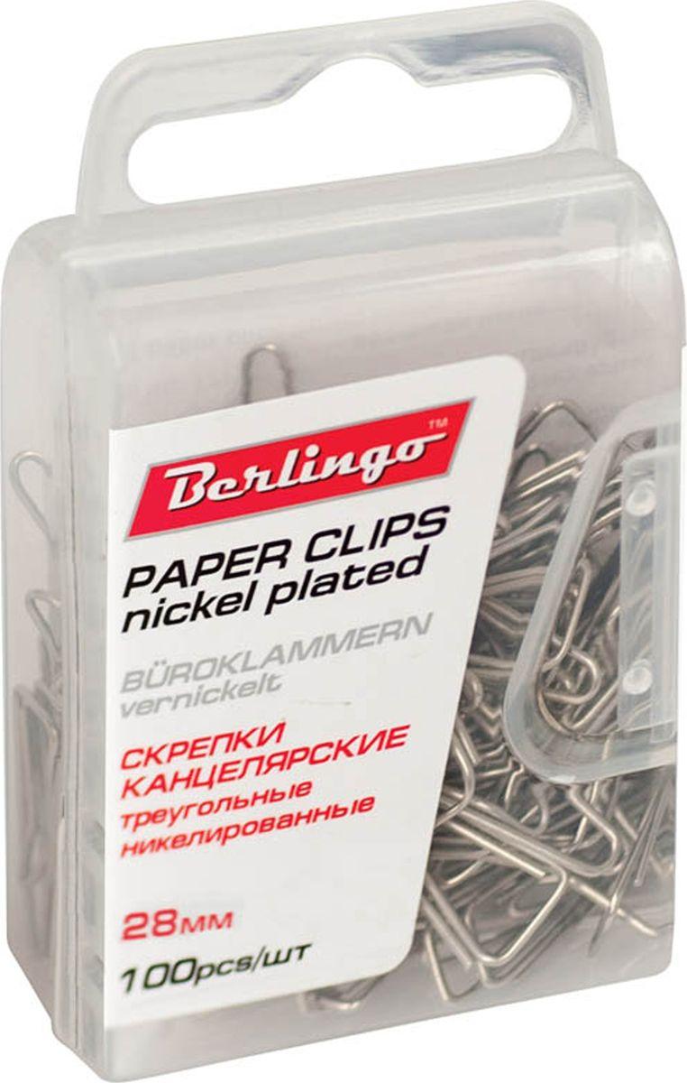 Berlingo Скрепки никелированные 28 мм 100 шт DBs_28120FS-00102Никелированные канцелярские скрепки Berlingo стандартной круглой формы. Не ржавеют, не пачкают бумагу, обеспечивают надежное скрепление. В упаковке 100 шт.