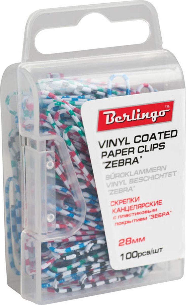 Berlingo Скрепки Зебра 28 мм 100 шт DBs_28140FS-00261Оригинальные металлические канцелярские скрепки Berlingo с цветным виниловым покрытием не ржавеют, не пачкают бумагу, обеспечивают надежное скрепление. В упаковке 100 шт.