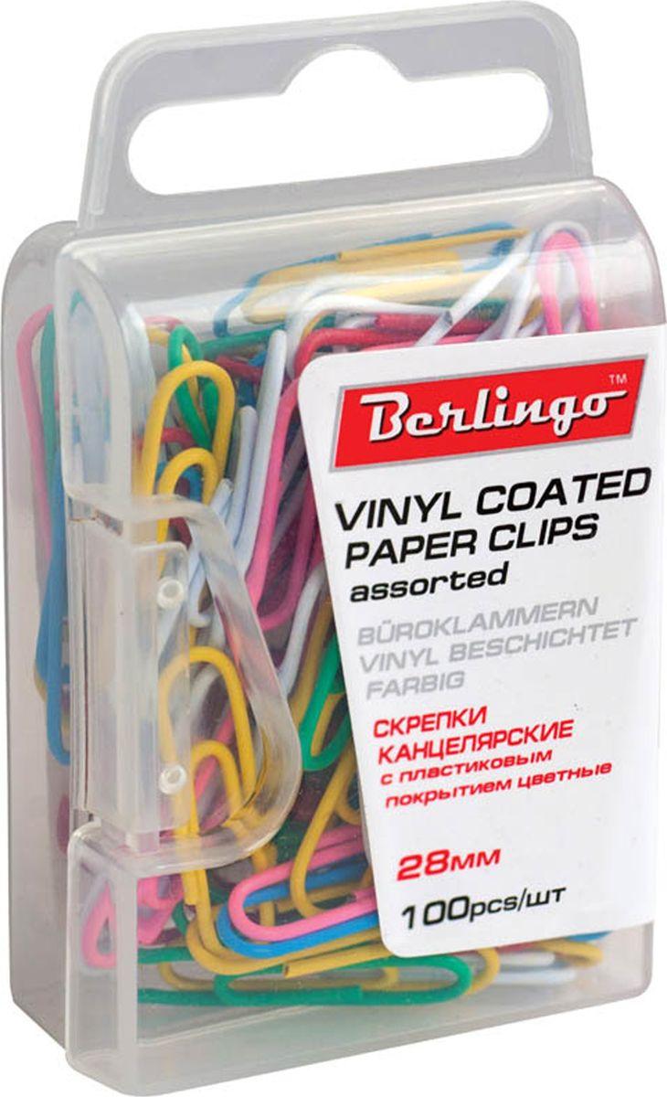Berlingo Скрепки цвет мультиколор 28 мм 100 шт DBs_28130FS-00103Оригинальные металлические канцелярские скрепки Berlingo с цветным виниловым покрытием. Не ржавеют, не пачкают бумагу, обеспечивают надежное скрепление. В упаковке 100 шт.
