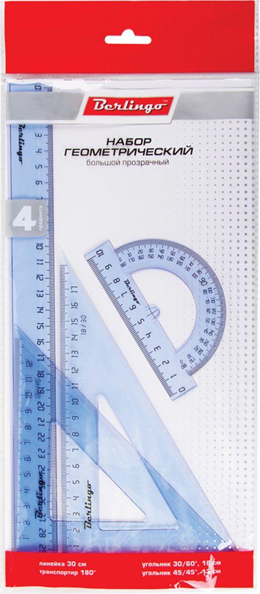 Berlingo Геометрический набор большой цвет прозрачный 4 предметаFS-36054Геометрический набор Berlingo выполнен из прочного пластика.Набор включает в себя все, что необходимо школьнику: линейка пластиковая 30 cм, треугольник пластиковый 30°, 60°, 18 см, треугольник пластиковый 45°, 45°, 13 см, линейка-транспортир пластиковая 180°.Каждый чертежный инструмент имеет свои функциональные особенности, что делает работу с ними особенно удобной и легкой.