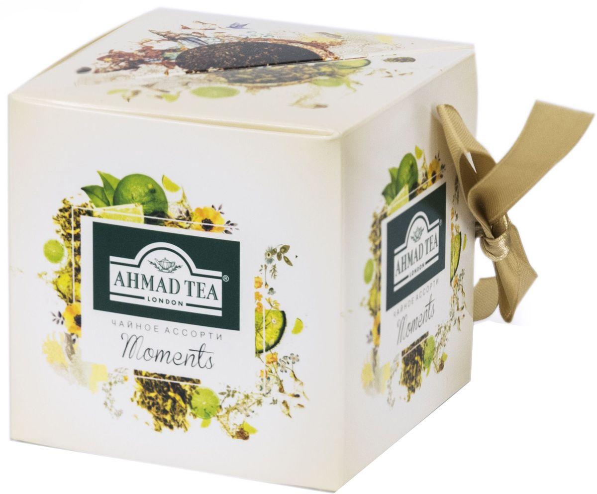 Ahmad Tea Moments набор листового чая, 60 гN070Набор Moments / Моментс, 2 чайных вкуса внутри. Лаймовый пирог, зеленый листовой чай 30 г. Ароматный купаж зеленого чая со вкусом лаймового пирога – обворожительная фантазия чайных сомелье на тему десертных композиций. Светлый настой золотистого цвета обладает освежающим ароматом садовых трав, традиционной сладостью китайского зеленого чая и сливочно-лаймовым послевкусием.Индийский чай Ассам, черный листовой чай 30 г. Великая река Брахмапутра, протекающая в восточных предгорьях Гималаев, создает уникальный микроклимат, позволяющий выращивать крепкий, чуть вяжущий, пряный чай. Это чудо природы не требует лишних украшений - ореховые ноты и легкий дымный оттенок станут наградой тем, кто до конца прочувствует этот сложный букет вкусов.