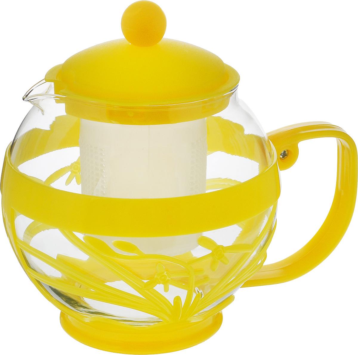 Чайник заварочный Wellberg Aqual, с фильтром, цвет: прозрачный, желтый, 800 мл54 009312Заварочный чайник Wellberg Aqual изготовлен из высококачественного пластика и жаропрочного стекла. Чайник имеет пластиковый фильтр и оснащен удобной ручкой. Он прекрасно подойдет для заваривания чая и травяных напитков. Такой заварочный чайник займет достойное место на вашей кухне.Высота чайника (без учета крышки): 11,5 см.Высота чайника (с учетом крышки): 14 см. Диаметр (по верхнему краю) 7 см.