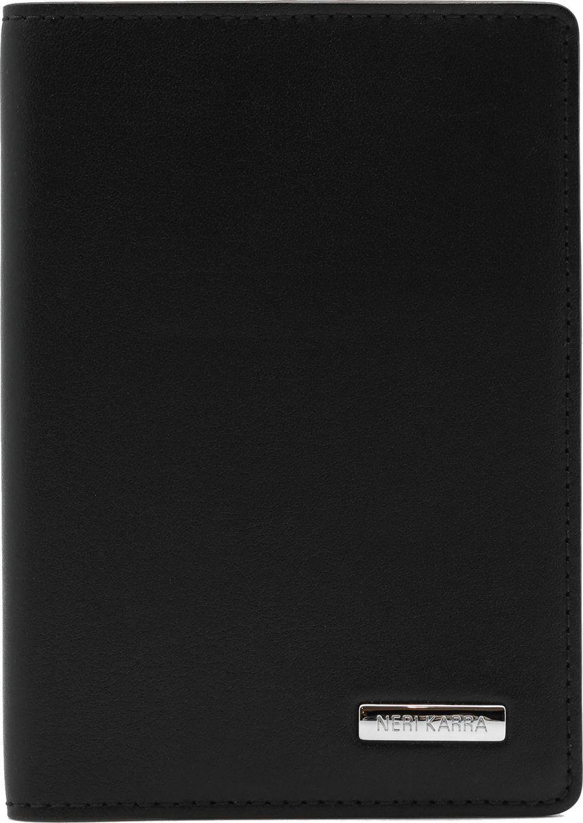 Обложка для паспорта Neri Karra, цвет: черный. 0137-72 501.0123/0121/219Обложка для паспорта Neri Karra из натуральной кожи черного цвета с бордовым кантом, внутри дополнительных кармашка для карт.