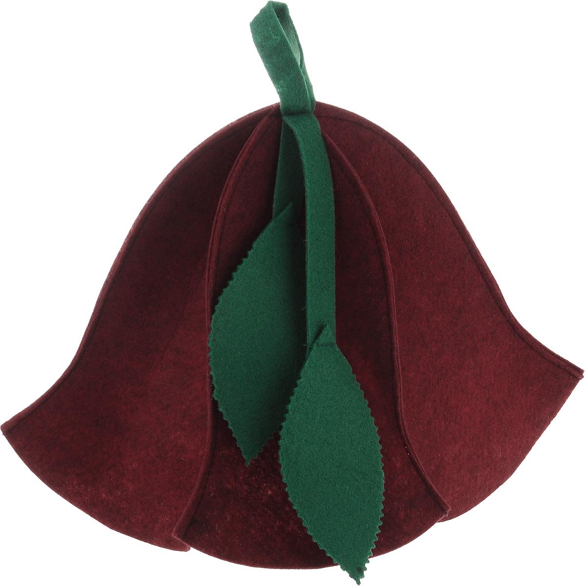 Шапка для бани и сауны Доктор баня Вьюнок, цвет: красныйАрс-117Шапка для бани и сауны Доктор баня Вьюнок изготовлена из фильца (100% полиэстер) - нетканого полотна. Это незаменимый аксессуар для любителей попариться в русской бане и для тех, кто предпочитает сухой жар финской бани. Необычный дизайн изделия поможет сделать ваш отдых приятным и разнообразным, к тому же шапка защитит вас от головокружения в парилке, ваши волосы - от сухости и ломкости, а голову - от перегрева.Такая шапка станет отличным подарком для любителей отдыха в бане или сауне.Диаметр основания шапки: 31 см. Высота шапки: 26 см.