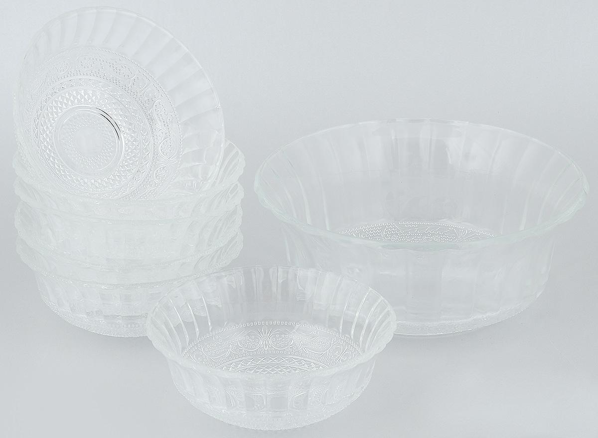 Набор салатников Wellberg, 7 предметов. 50452WB54 009312Набор Wellberg включает в себя 6 маленьких салатников и 1 большой. Изделия выполнены из высококачественного стекла. Салатники отлично подойдут для сервировки стола. Оригинальность дизайна набора всем придется по вкусу.Салатники можно мыть в посудомоечной машине.Диаметр большого салатника по верхнему краю: 22,5 см.Диаметр основания большого салатника: 9,5 см.Высота большого салатника: 9,5 см.Диаметр маленьких салатников по верхнему краю: 15 см.Диаметр основания маленьких салатников: 5 см.Высота маленьких салатников: 6 см.