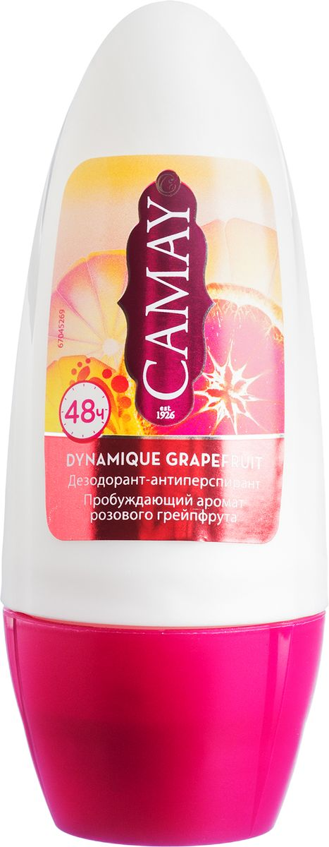 Camay Антиперспирант шариковый динамик 50 мл32021957Шариковый дезодорант Camay Динамик - бодрящий аромат розового грейпфрута пробуждает эмоции и наполняет энергией и свежестью на весь день.
