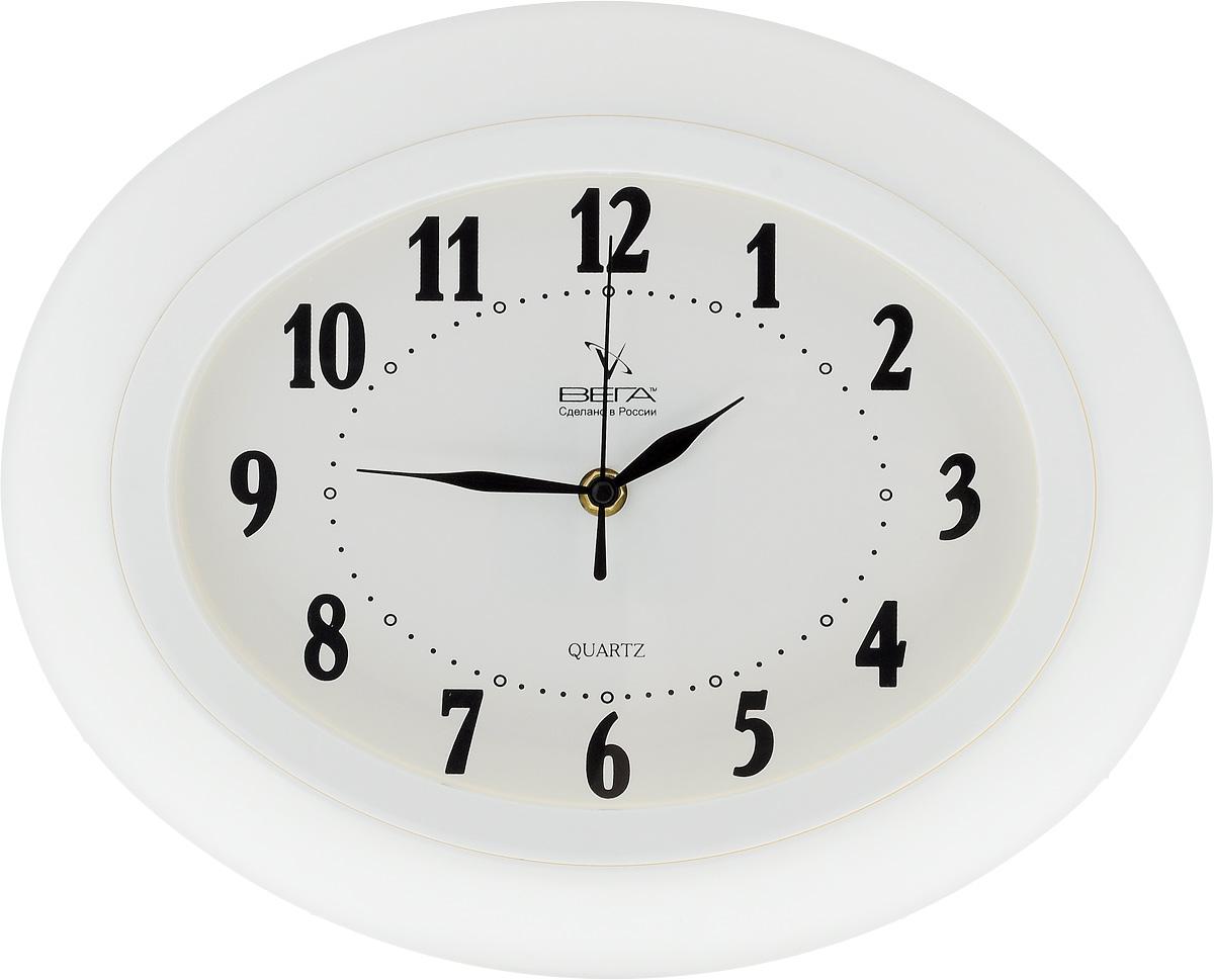 Часы настенные Вега Классика, 34,5 х 27,5 см. П5-7П1-6/7-277Настенные кварцевые часы Вега Классика, изготовленные из пластика, прекрасно впишутся в интерьер вашего дома. Часы имеют три стрелки: часовую, минутную и секундную, циферблат защищен прозрачным стеклом. Часы работают от 1 батарейки типа АА напряжением 1,5 В (не входит в комплект). Прилагается инструкция по эксплуатации.