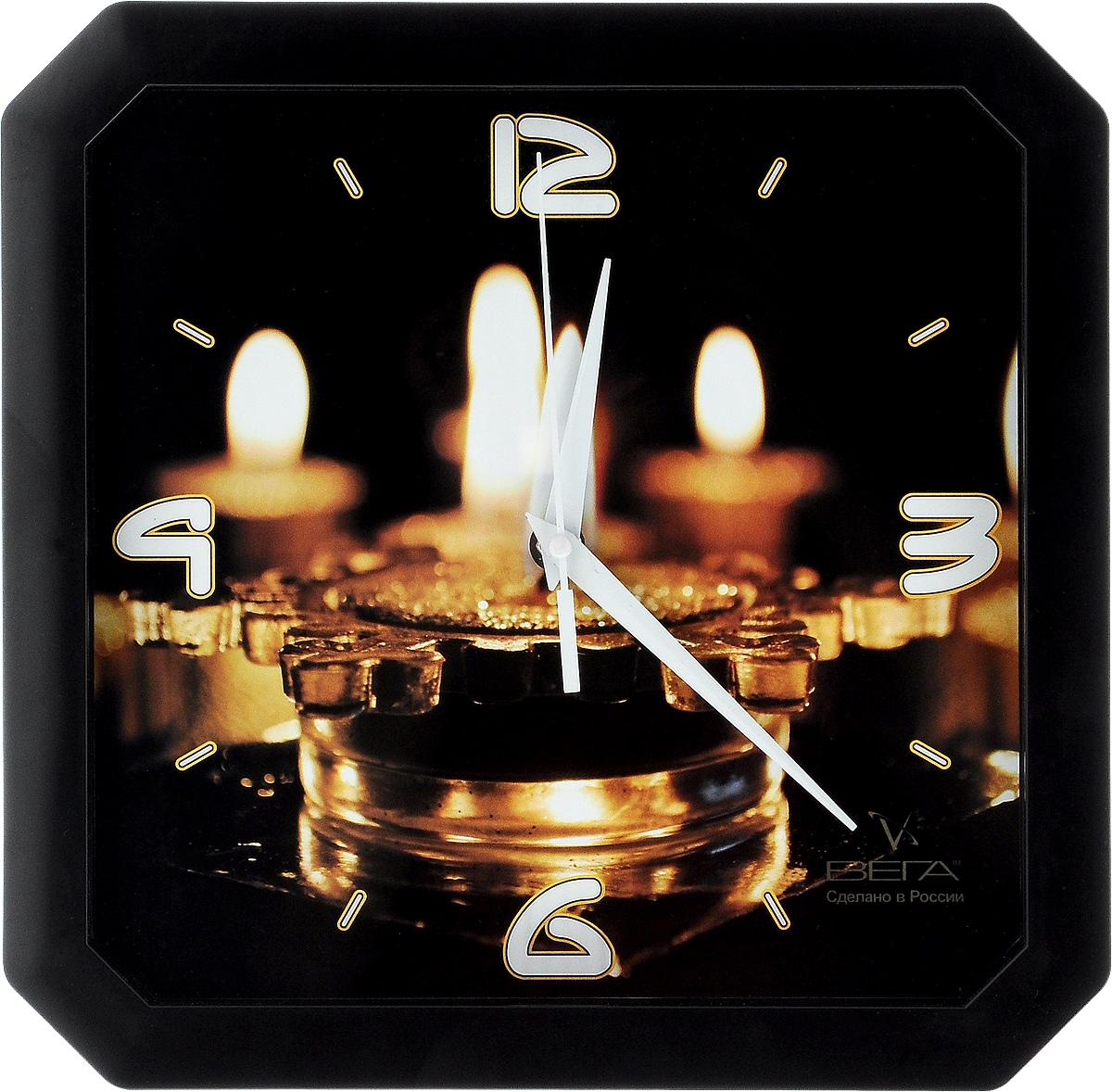 Часы настенные Вега Свечи, 28 х 28 смП2-9/7-12Настенные кварцевые часы Вега Свечи, изготовленные из пластика, прекрасно впишутся в интерьер вашего дома. Часы имеют три стрелки: часовую, минутную и секундную, циферблат защищен прозрачным стеклом. Часы работают от 1 батарейки типа АА напряжением 1,5 В (не входит в комплект).Прилагается инструкция по эксплуатации.