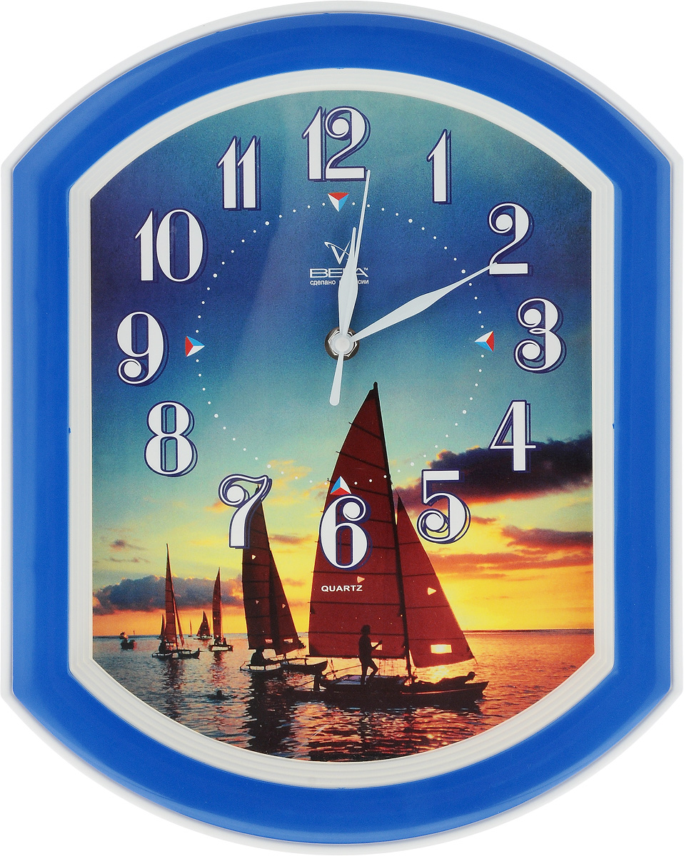 Часы настенные Вега Парусник, 34,5 х 27 смП1-7/7-3Настенные кварцевые часы Вега Парусник, изготовленные из пластика, прекрасно впишутся в интерьер вашего дома. Часы имеют три стрелки: часовую, минутную и секундную, циферблат защищен прозрачным стеклом. Часы работают от 1 батарейки типа АА напряжением 1,5 В (не входит в комплект). Прилагается инструкция по эксплуатации.