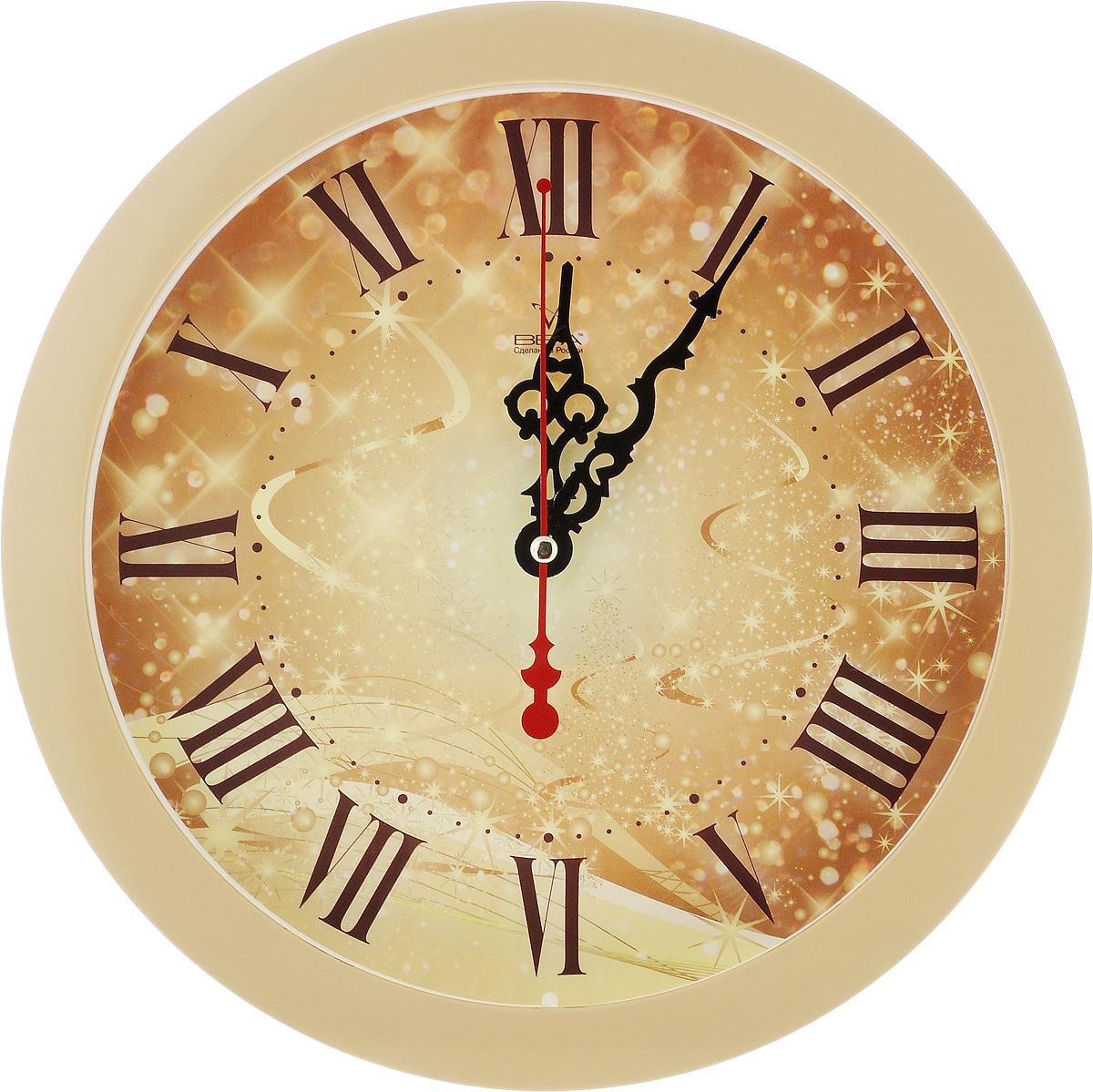 Часы настенные Вега Серпантин, диаметр 28,5 см94672Настенные кварцевые часы Вега Серпантин, изготовленные из пластика, прекрасно впишутся в интерьер вашего дома. Круглые часы имеют три стрелки: часовую, минутную и секундную, циферблат защищен прозрачным стеклом. Часы работают от 1 батарейки типа АА напряжением 1,5 В (не входит в комплект). Диаметр часов: 28,5 см.